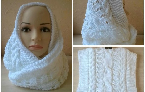 Белый шарф хомут