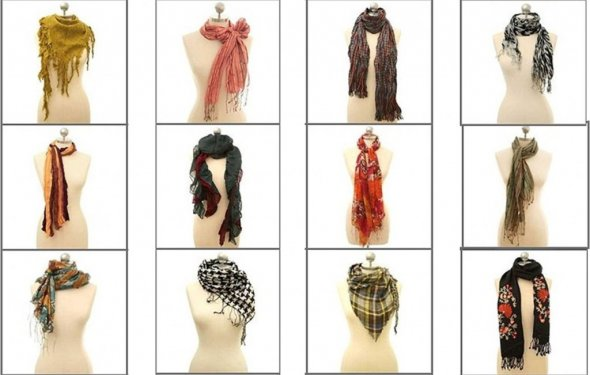как завязать шарф зимой фото |